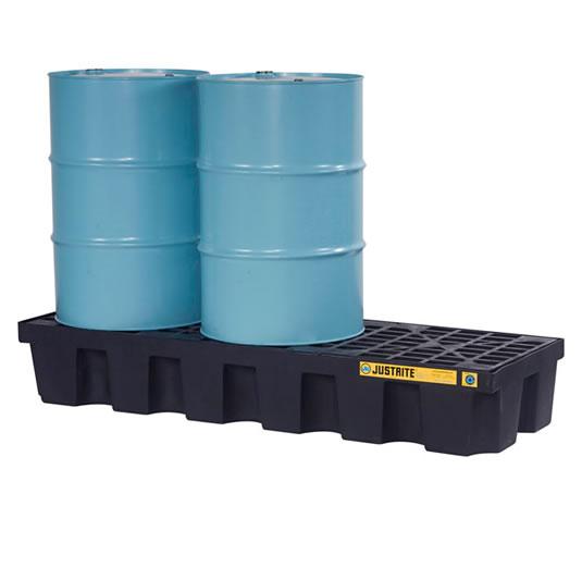 Pallet antiderrame 3t para 3 tambores Justrite 28629 (Ex 28703) con drenaje Negro