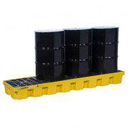 Pallet antiderrame 4t para 4 tambores en línea Justrite 28632 con drenaje Amarillo