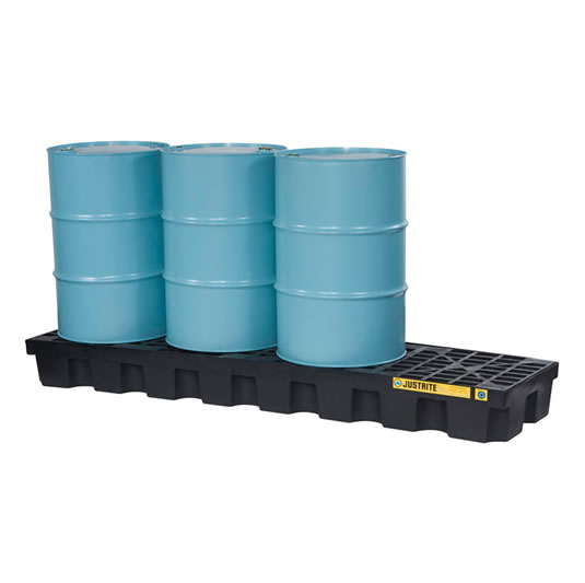 Pallet antiderrame 4t para 4 tambores en línea con drenaje Justrite 28633 Negro