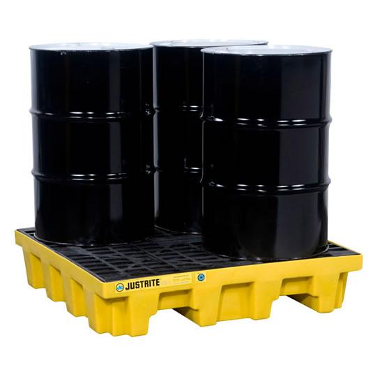 Pallet antiderrame 4t para 4 tambores en cuadro con drenaje Justrite 28636 Amarillo