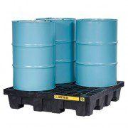 Pallet antiderrame 4t para 4 tambores en cuadro con drenaje Justrite 28637 (Ex28256) Negro
