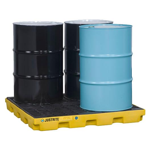 Centros de acumulación 28656 Justrite para 4 tambores Color amarillo (Ex 28923) EcoPolyBlend™