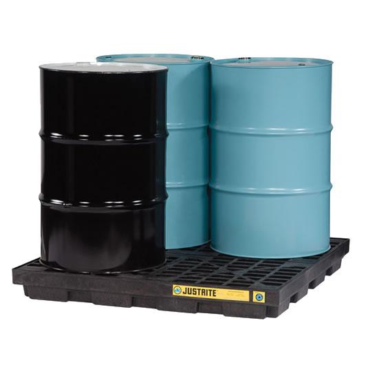Centros de acumulación 28657 Justrite para 4 tambores Color negro (Ex 28923) EcoPolyBlend™