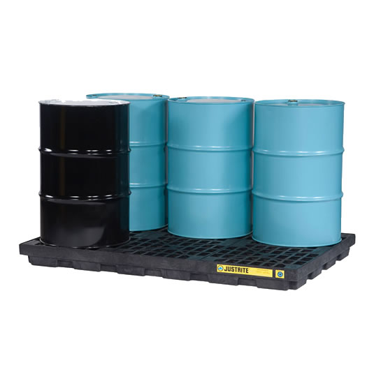 Centros de acumulación 28659 Justrite para 6 tambores Color negro (Ex 28924) EcoPolyBlend™