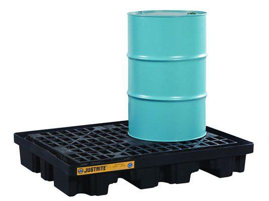 Pallets antiderrame para cobertizo Justrite 28672 EcoPolyBlend™ DrumSheds™ para almacenar 2 tambores