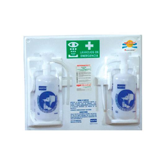 Botella lavaojos de polietileno 6044 - Accionamiento por gravedad