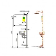 Ducha de emergencia con lavaojos 6010 de acero inoxidable - Accionamiento manual