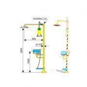 Ducha c lavaojos emergencia 6011 acero galvanizado Accionamiento manual