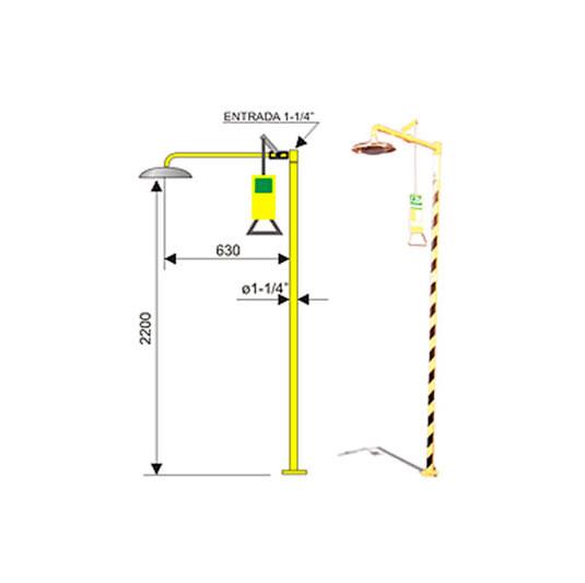 Ducha de emergencia 6015 de acero galvanizado - Accionamiento manual