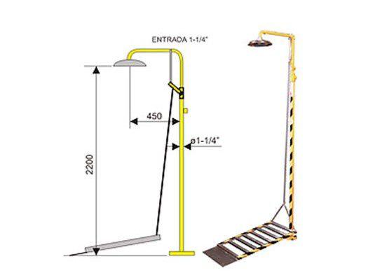 Ducha de emergencia 6016 de acero galvanizado – Accionamiento plataforma