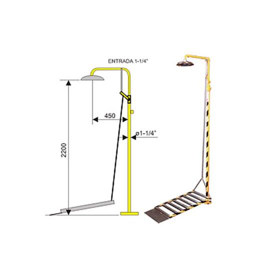 Ducha de emergencia 6016 de acero galvanizado - Accionamiento plataforma