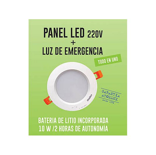 Panel 10 W Led 220 V + Luz emergencia Led 2050LED