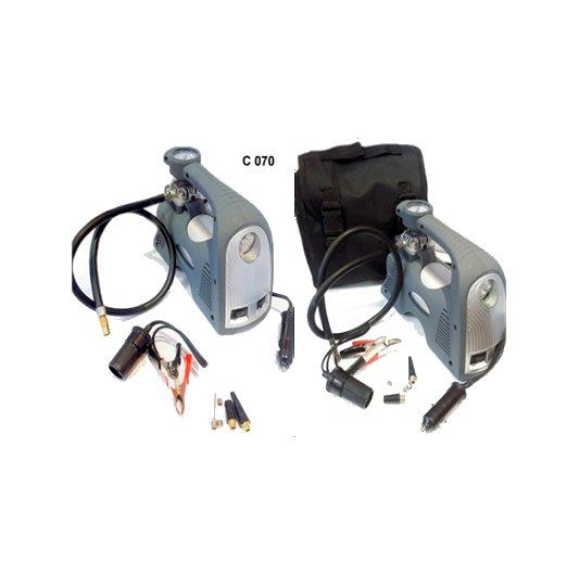 Compresor 12v 80 psi reforzado con linterna y bolso