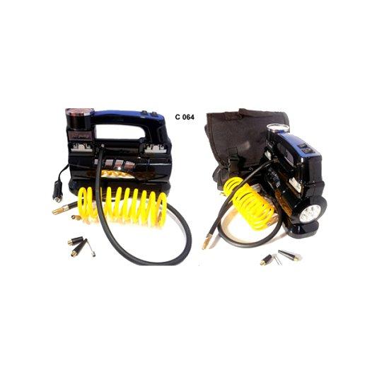 Compresor 12v 150 psi bicilindrico con linterna y bolso