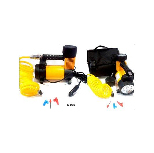 Compresor 12v 150 psi metálico reforzado con linterna y bolso