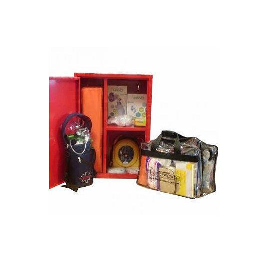 Mini estación 1ros auxilios y paro estacion de primeros auxilios accidentes masivos con gabinete