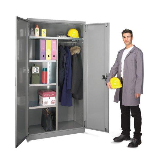 Guardarropa metálico estantes 2 puertas individual
