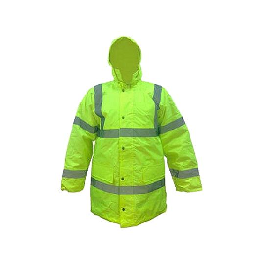 Parka abrigo impermeable amarillo fluo con reflectivos