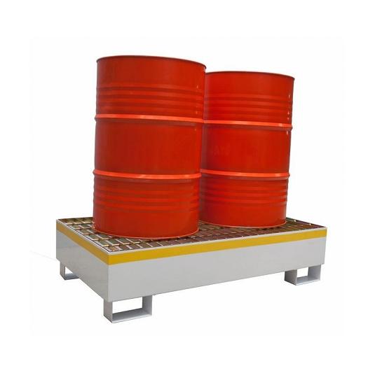 Pallets anti-derrame 2t de acero 2 tambores 200 L Norma NFPA-400 metalicos