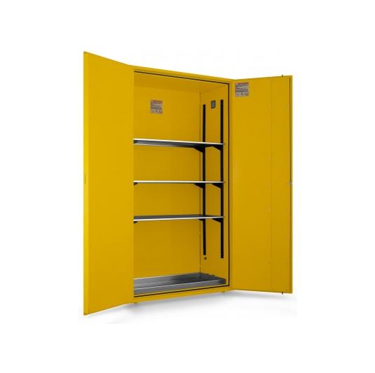 Gabinete ignifugo 2ptas inflamables 3 estantes bandeja DIN 12925